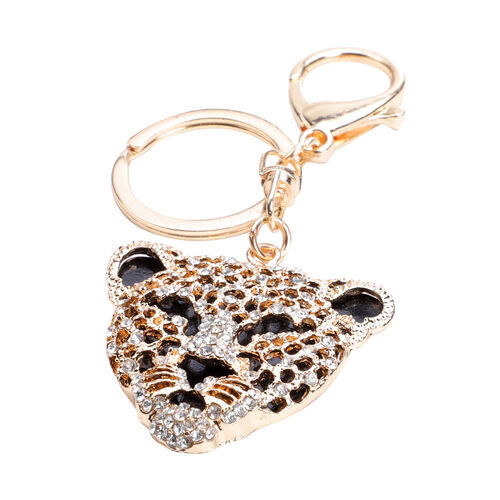 Set of 3 -  Multi Colour Austrian Crystal and Simulated Diamond Cheetah, Leopard and Zebra Keychains in Yellow Tone