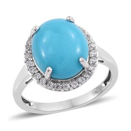 9K W Gold Arizona Sleeping Beauty Turquoise (Ovl 12x10mm) and Natural Cambodian Zircon Ring 4.050 Ct
