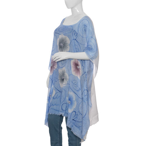 Designer Inspired Hand Painted Blue Colour Beach Tree Pattern Kaftan (Free Size)