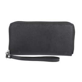 Super Soft 100% Genuine Nappa Leather RFID Clutch Wallet in Black (19.8x10.9cm)