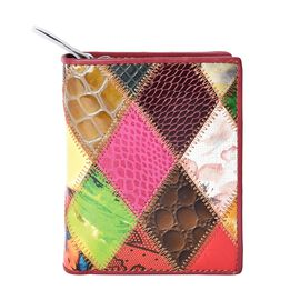 Multi Colour Applique Work Wallet (Size 12x9.5x3 Cm)
