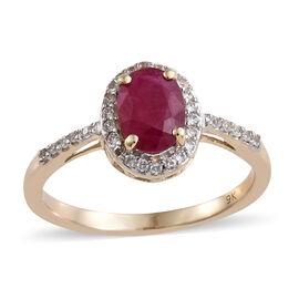 9K Yellow Gold AAA Burmese Ruby (Ovl), Natural Cambodian Zircon Halo Ring 1.350 Ct.
