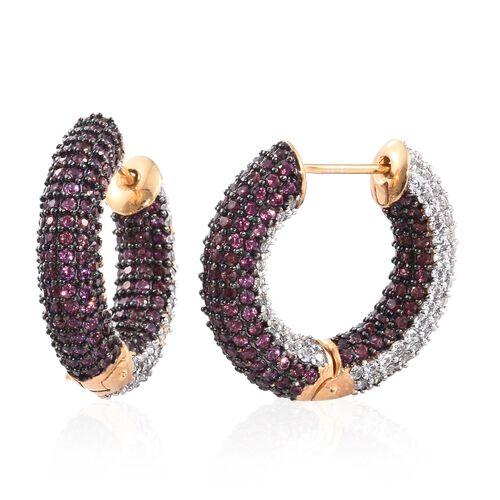 Designer Inspired - Reversible Rhodolite Garnet (Rnd), Natural Cambodian Zircon Hoop Earrings in 14k