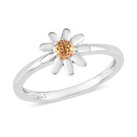 Platinum and Yellow Gold Overlay Sterling Silver Daisy Flower Ring