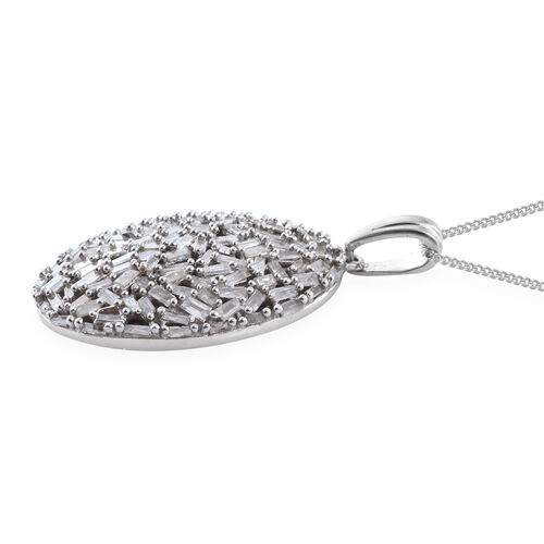 Limited Edition- Designer Inspired- Fire Cracker Diamond (Bgt) Cluster Pendant with Chain (Size 18) in Platinum Overlay Sterling Silver 1.510 Ct. Silver wt 5.27 Gms. Number of Diamonds 120