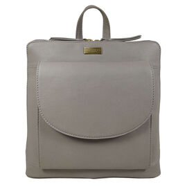 Assots London APPLE Two Way Zip Top Backpack in Mink Grey (Size 30x7x29.5 Cm)