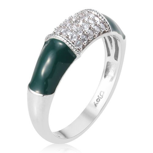 Sundays Child - Natural Cambodian Zircon Enamelled Ring in Platinum Overlay Sterling Silver 0.43 Ct.