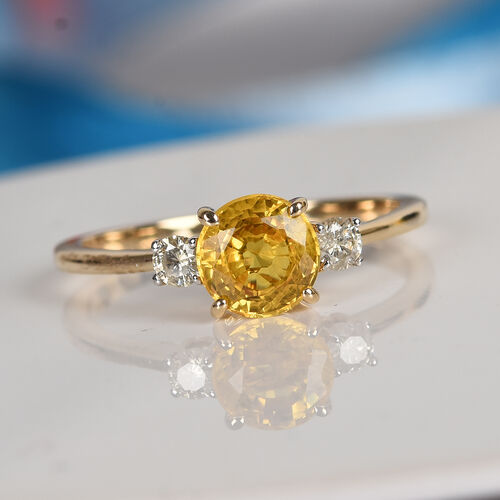 9K Yellow Gold AA Yellow Sapphire and Natural Diamond (I3/H) Ring 1.25 Ct.