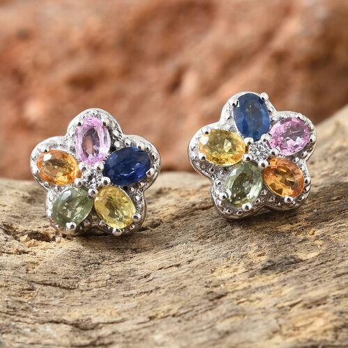 Rainbow Sapphire (Ovl), Natural Cambodian Zircon Floral Stud Earrings (with Push Back) in Platinum Overlay Sterling Silver 2.500 Ct