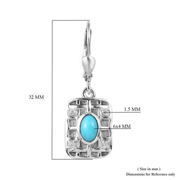 Arizona Sleeping Beauty Turquoise, Natural Cambodian Zircon Earrings in Platinum Overlay Sterling Silver 1.00 Ct.