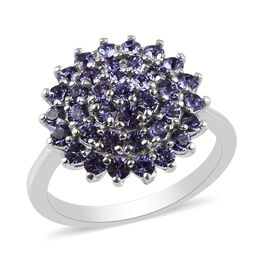 J Francis Crystal from Swarovski Tanzanite Colour Crystal Cluster Ring in Bronze and Platinum Overla