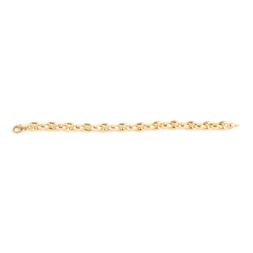 Italian Made- Gold Overlay Overlay Sterling Silver Mariner Bracelet (Size 7), Silver wt 11.27 Gms.