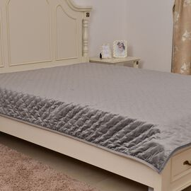 Supersoft Velvet Luxury Quilt with Embroidery in Silver Colour (Size 180x220 cm)