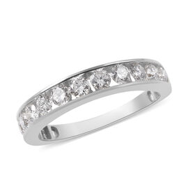 ILIANA 18K White Gold IGI Certified Diamond (Rnd) (SI/G-H) Half Eternity Band Ring 1.000 Ct.