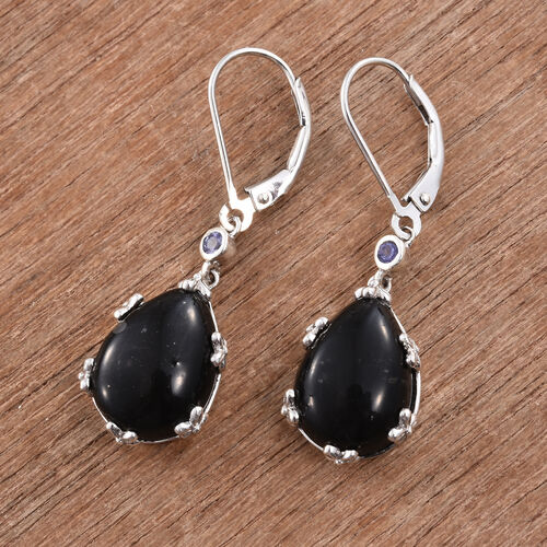 Shungite (Pear), Tanzanite Lever Back Earrings in Platinum Overlay Sterling Silver 9.000 Ct.