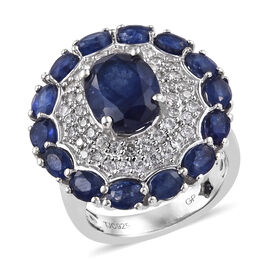 GP 8.25 Ct Sapphire and Cambodian Zircon Floral Ring in Platinum Plated Sterling Silver
