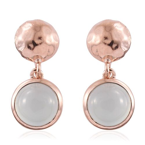 Aqua Chalcedony 4.25 Ct Silver Earrings in Rose Gold Overlay (with Push Back)