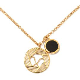 GP 6.03 Ct Black Tourmaline and Blue Sapphire Circle Pendant with Chain in Gold Plated Silver