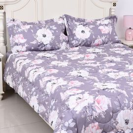 4 Piece Set - Floral Print Comforter, Fitted Sheet and Two Pillow Case King Size - Grey Colour