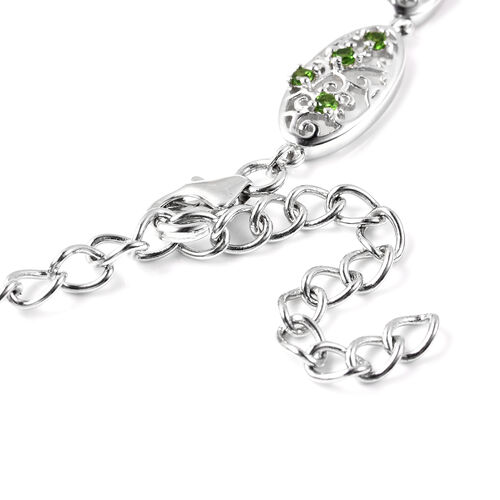 LucyQ Victorian Era Collection - Russian Diopside Necklace (Size 20) in Rhodoium Overlay Sterling Silver 3.65 Ct, Silver wt. 35.02 Gms