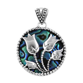 Bali Legacy Collection Paua Shell (Rnd) Tulip Flower Pendant in Sterling Silver, Silver wt 5.30 Gms.