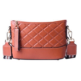 100% Genuine Leather Diamond Pattern Crossbody Bag with Shoulder Strap - Tan and Multi
