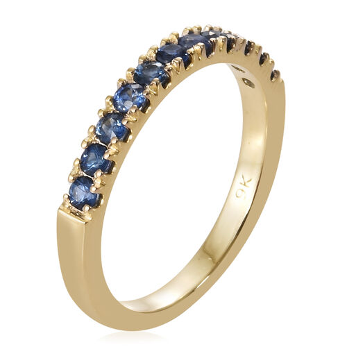 9K Yellow Gold AA Royal Ceylon Sapphire (Rnd) Ring 0.500 Ct.