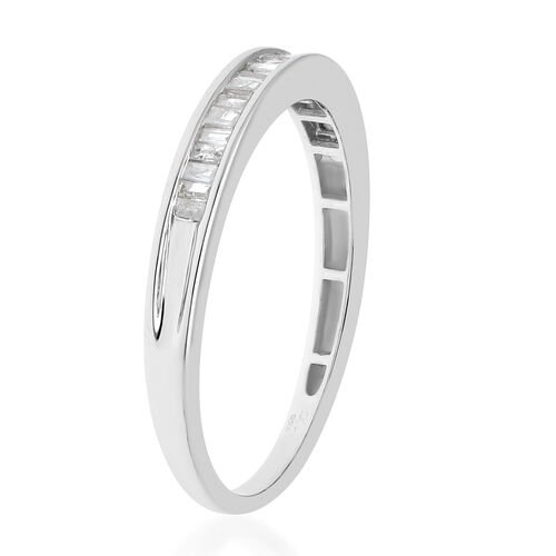 Diamond Half Eternity Band Ring in Platinum Overlay Sterling Silver 0.25 Ct.