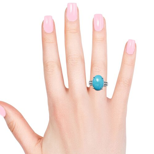 Arizona Sleeping Beauty Turquoise (Ovl 10.00 Ct), Natural Cambodian Zircon Ring in Platinum Overlay Sterling Silver 11.000 Ct.