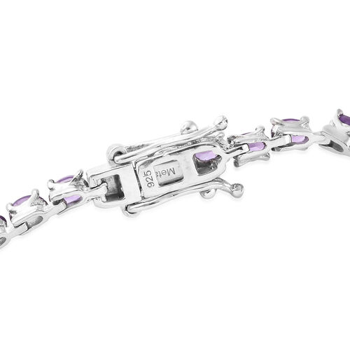 Amethyst (Ovl) Tennis Bracelet (Size 7.5) in Platinum Overlay Sterling Silver 6.750  Ct., Silver wt 7.73 Gms.