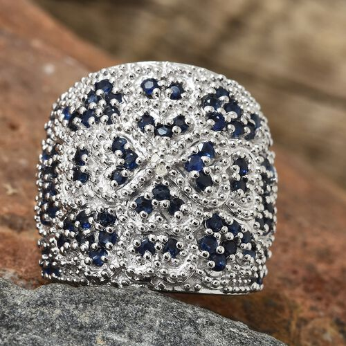 Kanchanaburi Blue Sapphire (Rnd), Diamond Cluster Ring in Platinum Overlay Sterling Silver 2.500 Ct, Silver wt 14.00 Gms