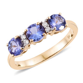 9K Yellow Gold Tanzanite (Rnd), Diamond Ring 1.600 Ct.