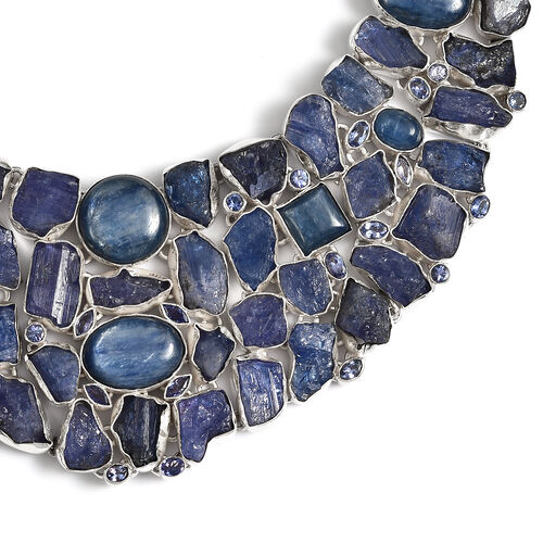 Artisan Crafted Tanzanite, Himalayan Kyanite Necklace (Size 20) in Sterling Silver 380.00 Ct, Silver wt 90.00 Gms