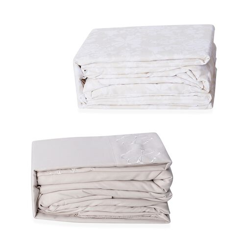 Set of 2 Biege and Cream Colour Double Size- 2 Fitted Sheet (190x140x30 Cm), 2 Flat Sheet (265x230 Cm) and 2 Pillow Case (75x50 Cm) in Damask and Embroidery Pattern