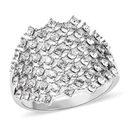Designer Inspired Made with SWAROVSKI ZIRCONIA Cluster Ring in Silver Plated