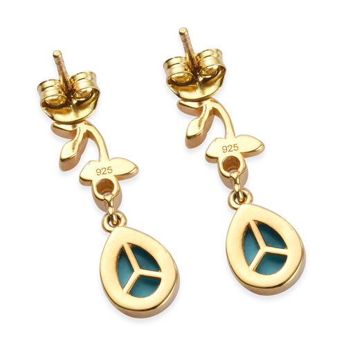 Arizona Sleeping Beauty Turquoise and Natural Cambodian Zircon Earrings (with Push Back) in 14K Gold Overlay Sterling Silver 2.25 Ct.