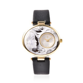STRADA Japanese Movement Cameo Carved Dial Gold Tone Watch with Blue Strap
