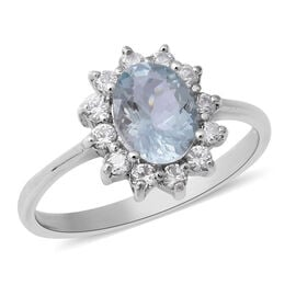 1.63 Ct Brazilian Aquamarine and Zircon Halo Ring in Sterling Silver