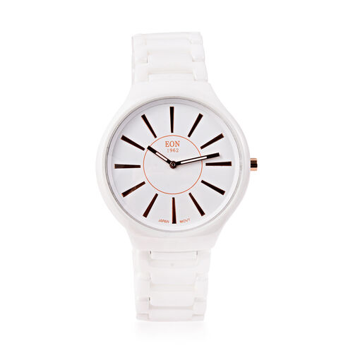 EON 1962 3ATM Water Resistant Watch in Stainless Steel with White Ceramic Chain Strap and Butterfly
