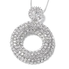 White Austrian Crystal Pendant With Chain (Size 29 with 2 Inch Extender) in Silver Plated