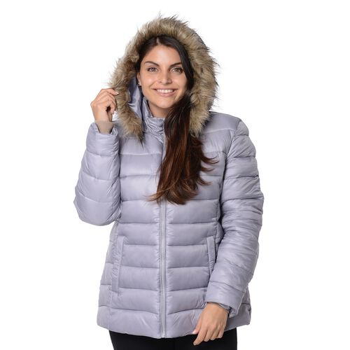 Women Puffer Jacket with Faux Fur Trim Hood and Two Pockets  in Silver Grey