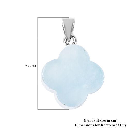 Aquamarine Clover Pendant in Rhodium Overlay Sterling Silver 15.00 Ct.