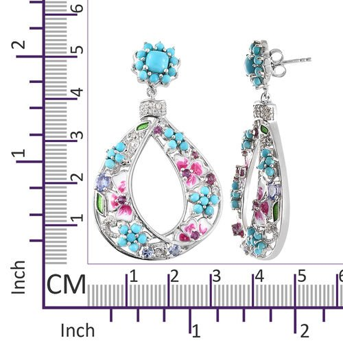 Arizona Sleeping Beauty Turquoise (Rnd and Cush) and Multi GemStone Earrings (with Push Back) in Platinum Overlay Sterling Silver 5.500 Ct, Silver wt 13.00 Gms.