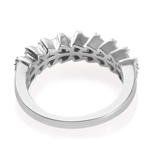 Diamond (Rnd and Bgt) Ring in Platinum Overlay Sterling Silver 0.50 Ct.