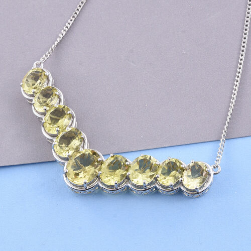 Natural Green Gold Quartz (Ovl) Necklace (Size 18) in Platinum Overlay Sterling Silver 20.750 Ct. Silver wt 12.82 Gms.