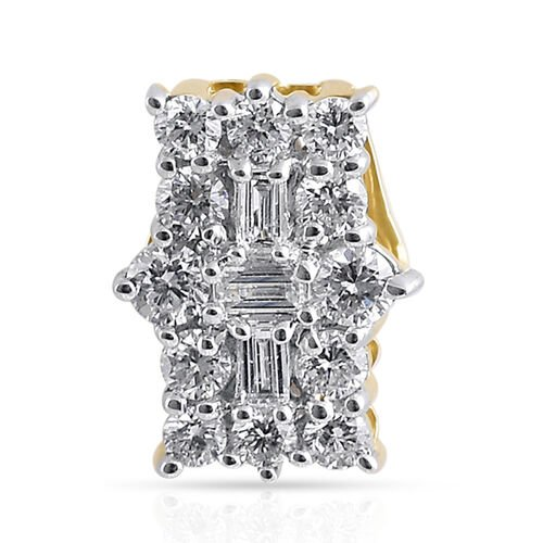 ILIANA 18K Yellow Gold IGI CERTIFIED Diamond (Bgt and Rnd) (SI/G-H)  Pendant 0.500 Ct.