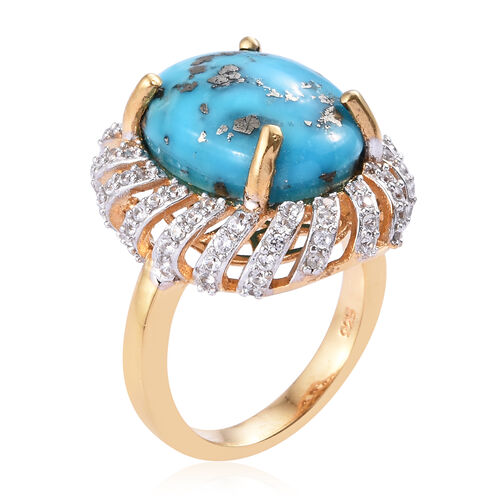 Persian Turquoise (Ovl 16x12 mm), Natural Cambodian Zircon Ring in 14K Gold Overlay Sterling Silver 9.75 Ct.