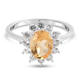 Citrine and Natural Cambodian Zircon Halo Ring in Sterling Silver 1.81 Ct.