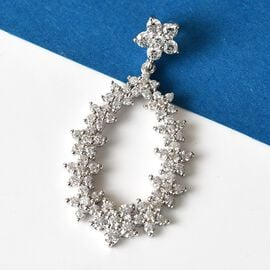 J Francis Platinum Overlay Sterling Silver Cluster Pendant Made with SWAROVSKI ZIRCONIA 3.61 Ct.