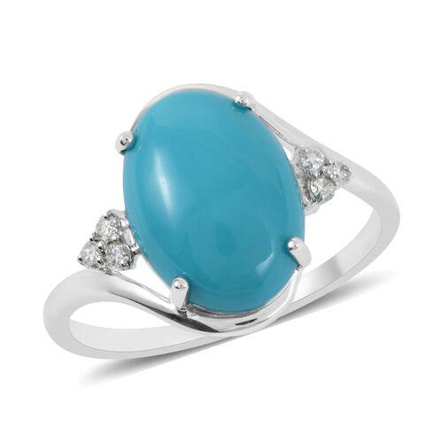 ILIANA 4.70 Ct AAA Arizona Sleeping Beauty Turquoise and Diamond Solitaire Design Ring 18K Gold